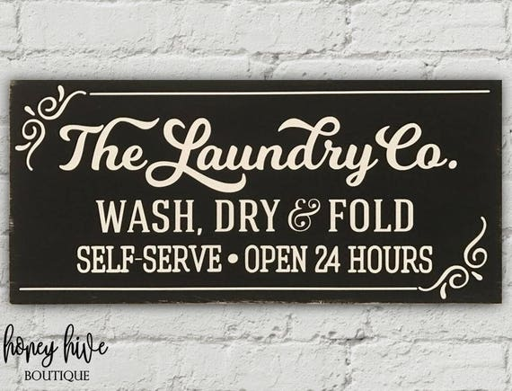 The Laundry Co Wood Sign Vintage Distressed Look Farmhouse Shelf Sitter PRINT
