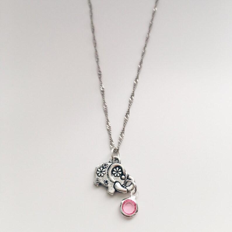 40 Off Cute Little Flower Elephant Necklace Antique Silver Etsy
