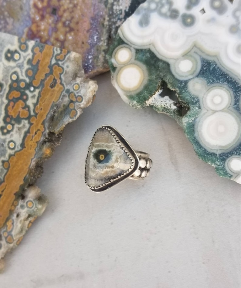Ocean Jasper Stone Sterling Silver Artisan Metalsmith Handmade Eye of Ra Rustic Ring Artsy Wide Band Black Patina Evil Eye Size 8 8.25 OOAK