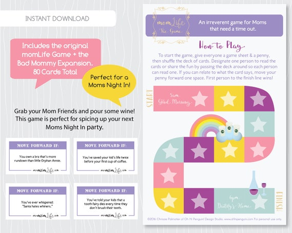 Funny Mom Life Game Uncensored Bad Mommy Expansion Pack Funny Moms Night In Game Stay At Home Mom Printable By Ohp Design Boutique
