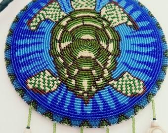 Beaded Native American Turtle Medallion