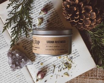 Urban Rosewood - Tin Candle - Hand Poured Soy Candle