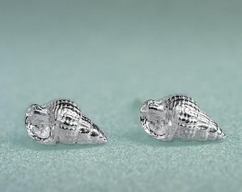 Threeline Mud Snail Studs - Mini Silver Snail Earrings