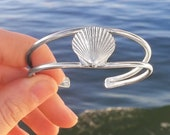 Silver Scallop Shell Cuff - Cast Shell Bracelet