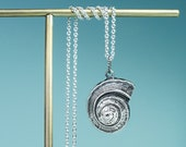 Channeled Whelk Top Necklace - Cast Silver Snail Shell Charm