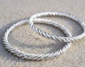 Silver Braided Rope Bangl...
