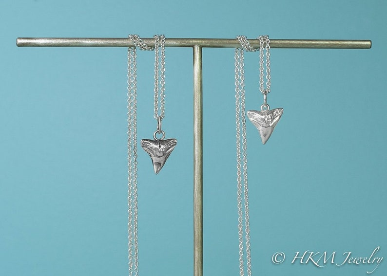 Silver Shark Tooth Necklace  Bull Shark Pendant image 0