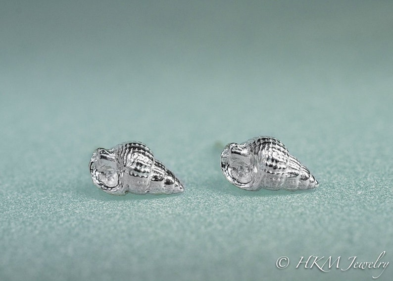 Threeline Mud Snail Studs  Mini Silver Snail Earrings image 0