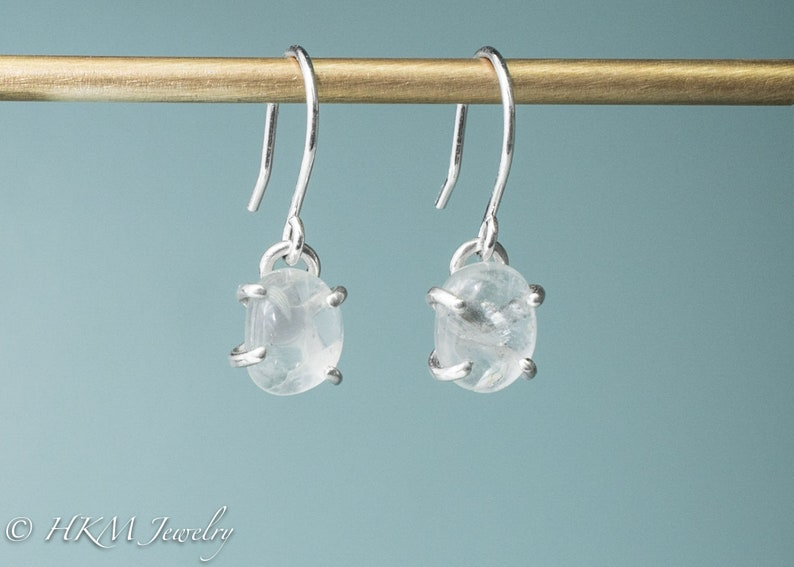 Silver Cape May Diamond Dangles  Prong Set Tumbled Beach image 0