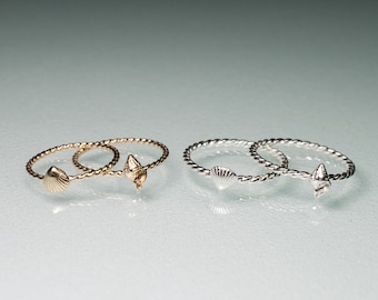 Mini Silver or Gold Stacking Shell Ring - Twisted Band