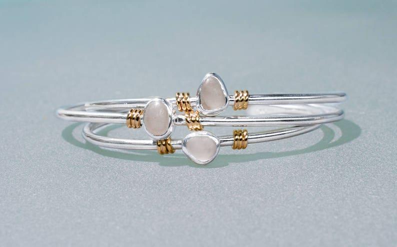 Raw Cape May Diamond Cuff  Silver and Gold Quartz Beach Stone image 0