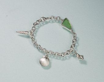 Beachcombers Charm Bracelet - Sea Glass and Cast Seashell Charms