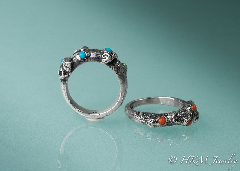 Silver Barnacle Band Ring  Turquoise and Coral image 0