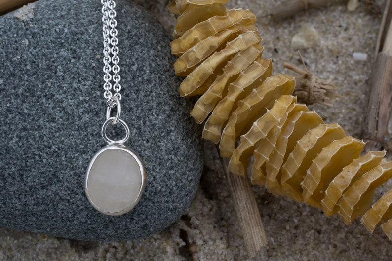 Raw Cape May Diamond Necklace  Silver Beach Stone image 0