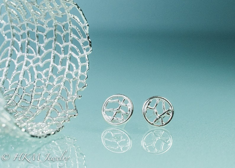 Silver Sea Fan Studs  Cast Coral Circle Earrings image 0