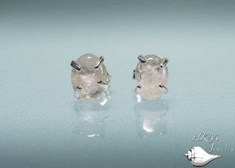 Silver/Gold Cape May Diamond Studs  Prong Set Tumbled Beach Medium - Sterling