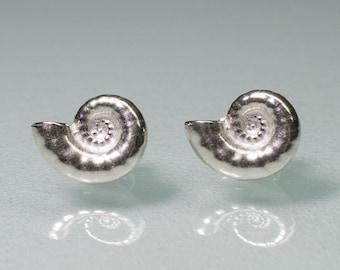 Ram's Horn Studs - Silver Nautilus Swirl Shell Earring