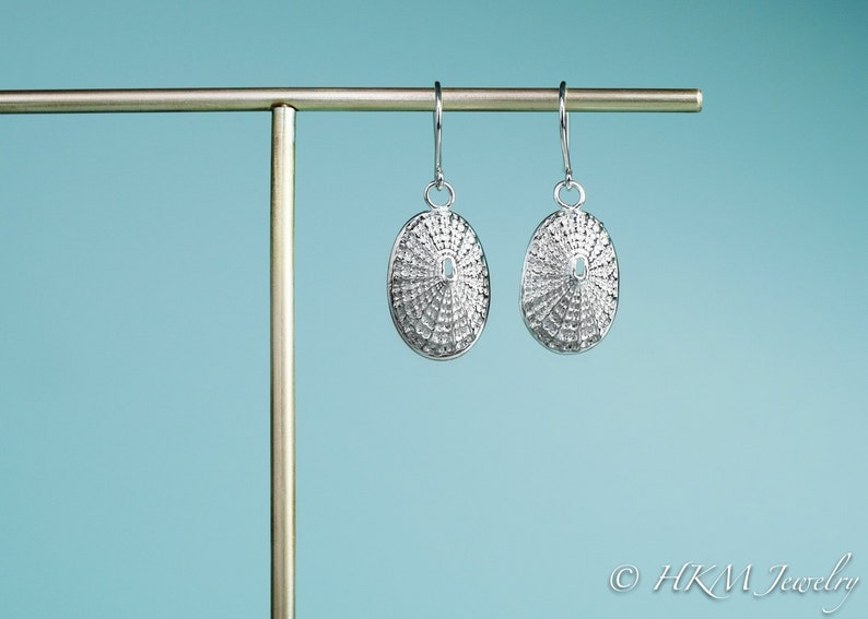 Silver Keyhole Limpet Shell Earrings  Cast Seashell Drops image 0