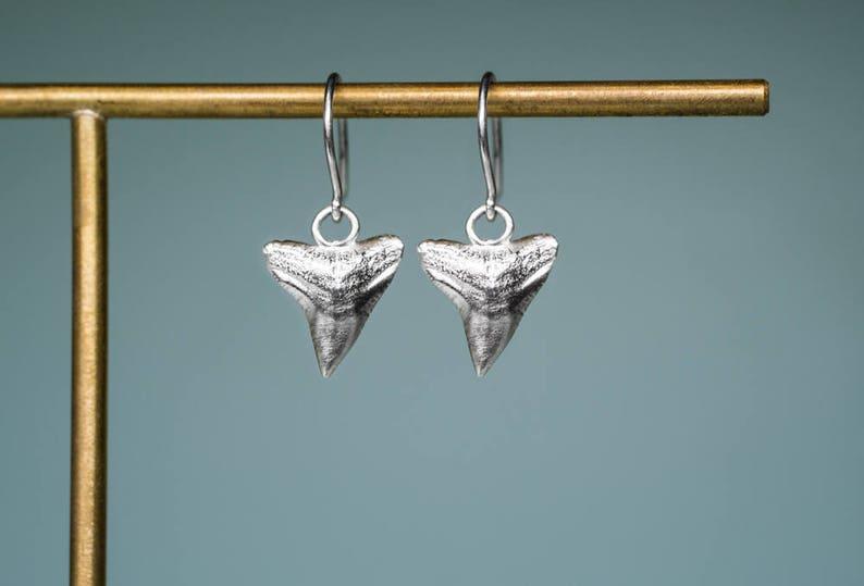 Silver Shark Tooth Drop Earrings  Bull Shark Dangle Earring image 0