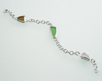 Trifecta Sea Glass Charm Bracelet
