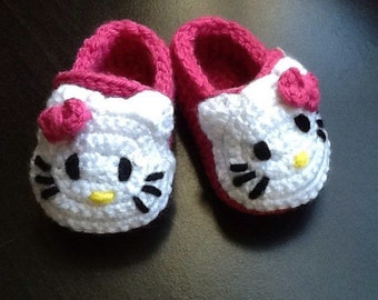 a51853ad0 Crocheted Hello Kitty Baby Shoes