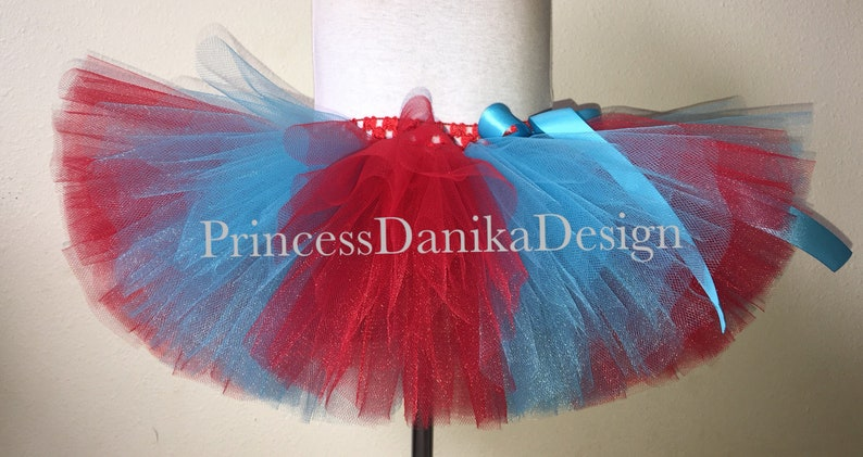 Thing 1 or Thing 2 Inspired Tutu Striped Red and Turquoise image 0