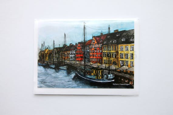 Nyhavn Copenhagen Greetings Card Artwork