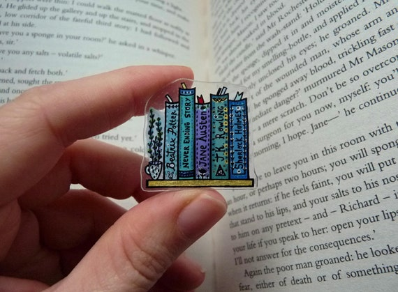 Customizable Bookshelf Pin with Favourite Titles Writers Artists Authors |  Book Brooch, Book Lover Gift, Custom Bookmark, Bookish Jewelry