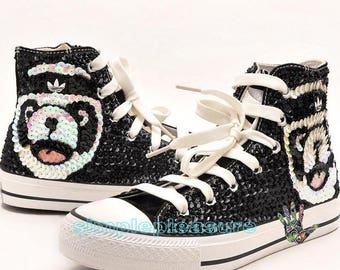 e90b29ae52b1 Hand Sew Lovely Panda Sparkling Wedding Sneakers