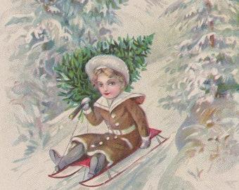 Antique Stecher Postcard, Child Bringing Home Tree on Sled, Winter Wonderland, Merry Christmas Postcard, Ephemera