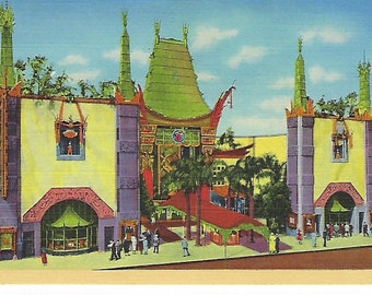 Vintage Linen Postcard, Grouman's Chinese Theatre, Hollywood, California, Unused
