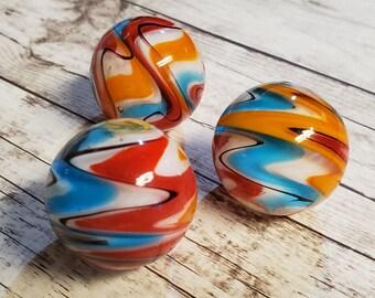 """25mm WURLITZER Handmade art glass red blue design Marbles ball Large 1/"""" SHOOTER"""