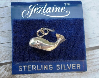 Vintage 925 Sterling Silver Gold Vermeil Whale Charm Pendant