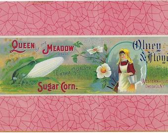 Antique Olney & Floyd Sugar Corn Crate Label, Circa 1910,