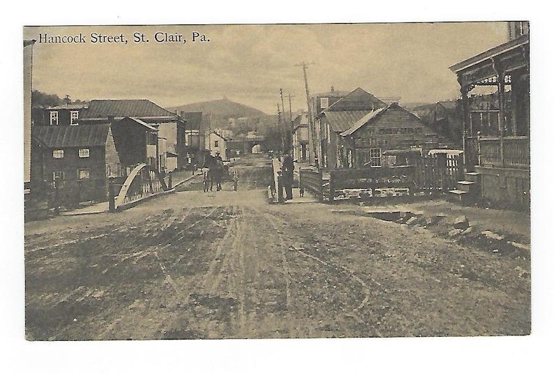 Street View St Antique Postcard Unused Hancock Street Dirt Road Clair Pa.