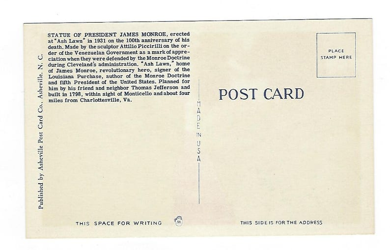 Unused Va. Vintage Linen Postcard Ephemera 567-Statue of James Monroe at Ash Lawn Charlottesville