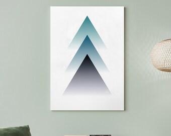 Triangle Geometric Mountains Wall Art Print | Abstract Mountain Print, Triangle Art, Minimalist Mountain Print, Printable Wall Art, Digital