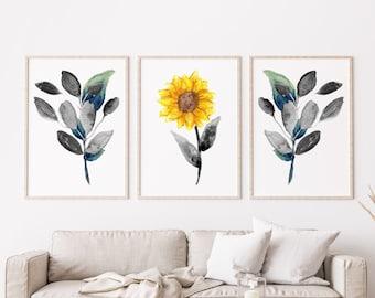 Sunflower Watercolor Print | Sunflower Art Set of Three, Botanical Wall Art, Printable Wall Art, Floral Print, Kansas Home Decor, Digital