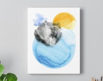 Watercolor Sun and the Sea Wall Art Print | Watercolor Sun, Watercolor Painting, Sun Wall Art, Watercolor Ocean Art, Abstract Sun, Digital