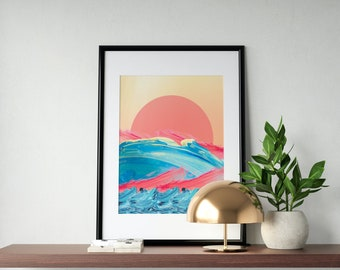 Ocean Sunrise/Sunset Wall Art Print | Ocean Poster, Ocean Decor, Tropical Island, Coastal Wall Art, Modern Art, Printable Wall Art, Digital