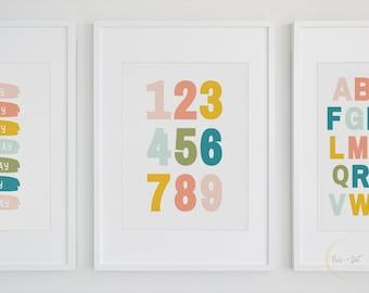 Numbers Poster Printable Wall Art | Numbers Print, Numbers Wall Art, Nursery Decor, Playroom Print, Educational Poster, Kids Room, Digital