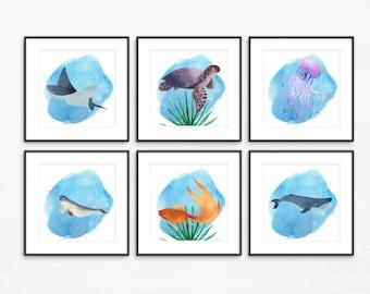 Watercolor Under the Sea Nursery Bathroom Decor Wall Art Set | Kids Bathroom, Ocean, Nautical, Whale Decor, Gender Neutral, Aquatic, Digital