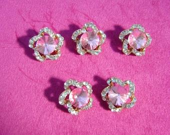 BULK 10 Pink rhinestone dragonfly pendants silver plated A386