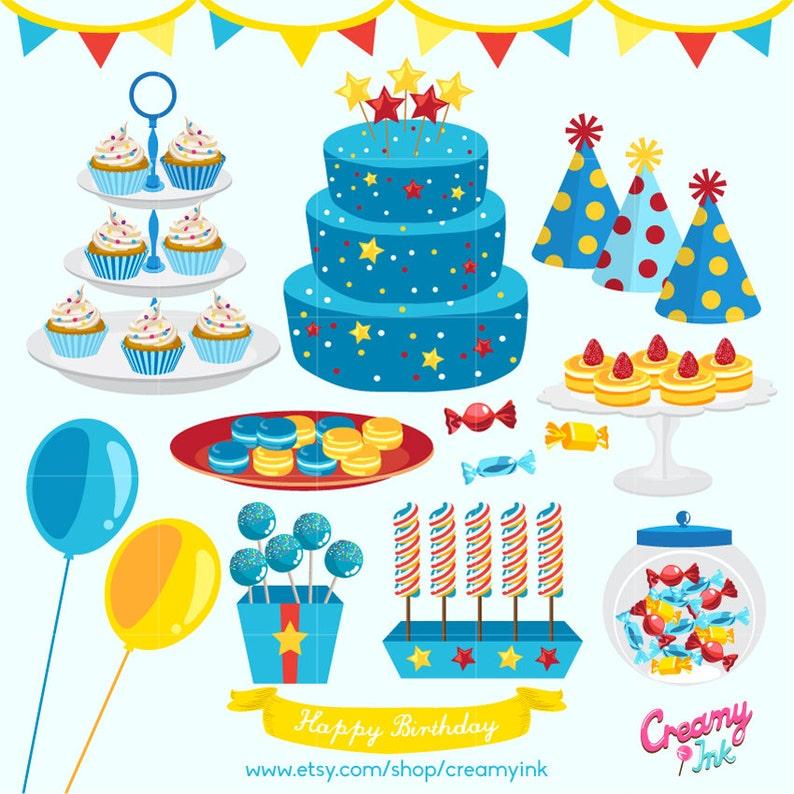 Jungen Birthday Party Digital Vector ClipArt Baby Boy Kuchen