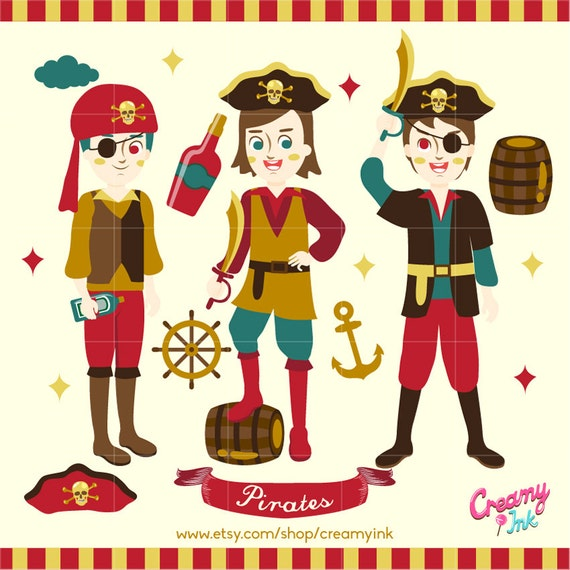 Pirates Digital Vector Clip Art Pirate Party Clipart Design