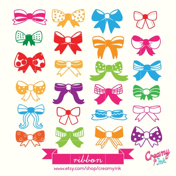 Cute & Colourful Ribbon Digital Vector Clip art / Girls ...