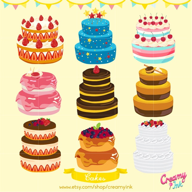 Birthday Cake Digital Vector Clip art/ Wedding Cakes Digital | Etsy