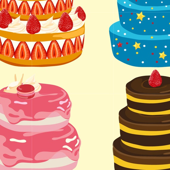 Birthday Cake Digital Vector Clip Art Wedding Cakes