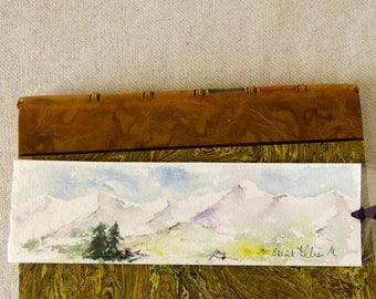Original watercolor bookmark of a mountainscape with firs - unique handmade bookmark of a mountainscape in France