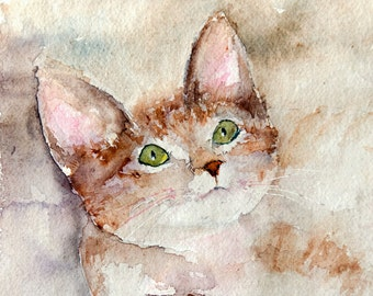 Original watercolor of a looking up kitten  - Original painting  of a tabby cat  with a warm brownish color